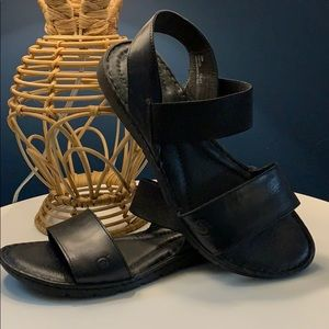 Born size 10 black leather and rubber sole sandals